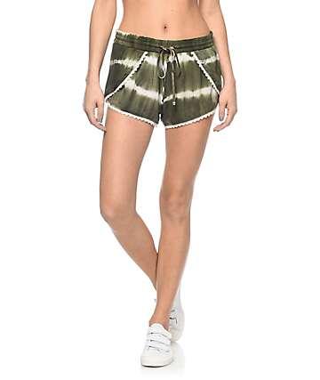 Empyre Auburn shorts con efecto tie dye en verde olivo