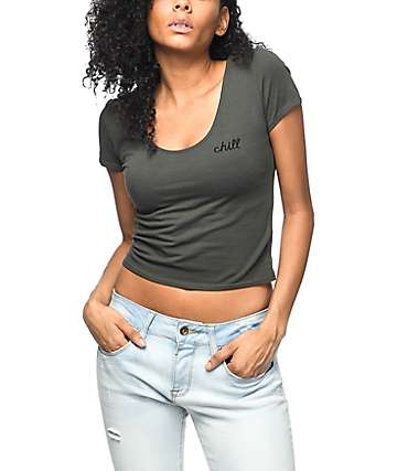 Empyre Autumn Chill Lace Up Olive Crop Top