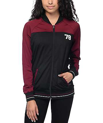 Empyre Avery Black & Burgundy Mesh Track Jacket