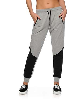 Empyre Bailey Grey & Black Panel Jogger Pants