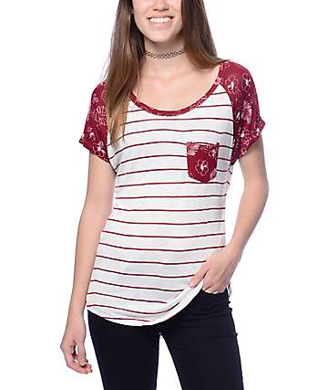 Empyre Bartlett Cream, Burgundy & Floral T-Shirt