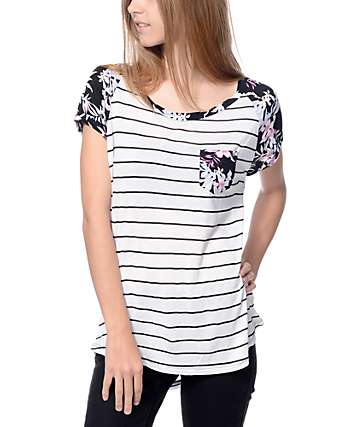 Empyre Bartlett White Stripe With Floral Sleeve T-Shirt