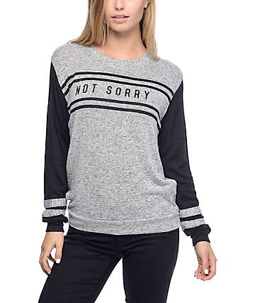 Empyre Bay Not Sorry Varsity Black Crewneck Sweatshirt