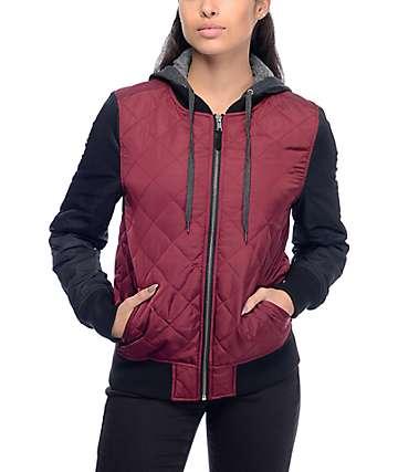 Empyre Billie chaqueta bomber con capucha en negro y color borgoño