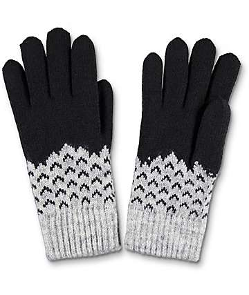 Empyre Black & Grey Chevron Chenille Gloves