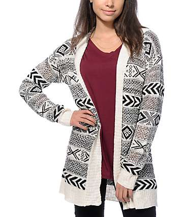 Empyre Black & White Tribal Hooded Cardigan