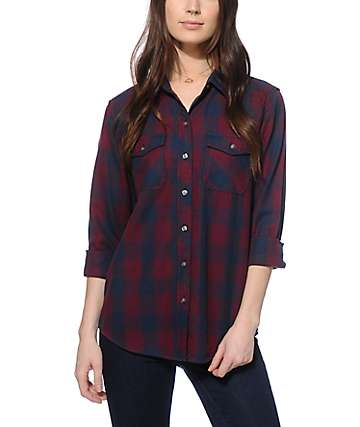 Empyre Blackberry & Navy Flannel Shirt