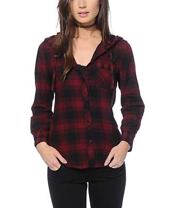 Empyre Blackberry Mixed Plaid Hooded Flannel Shirt