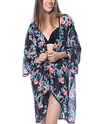 Empyre Blaine Black Floral Kimono