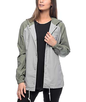 Empyre Bonnie Olive & Grey Cotton Hooded Coaches Jacket