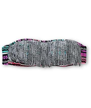 Empyre Bora Bora Ombre Tribal Print Fringe Bandeau Bikini Top