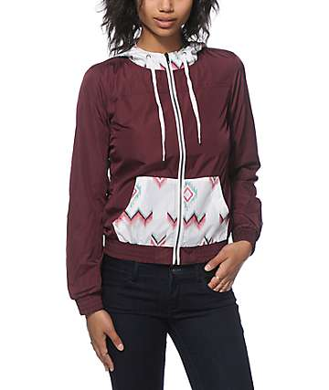 Empyre Bowery Tribal & Burgundy Windbreaker Jacket