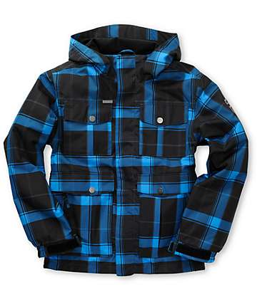 Empyre Boys Foothold Black Plaid Snowboard Jacket