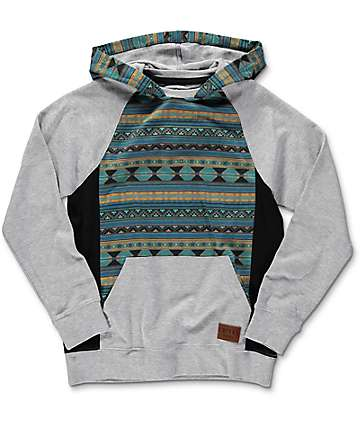 Empyre Boys Get Smart Blue & Grey Tribal Mesh Hoodie