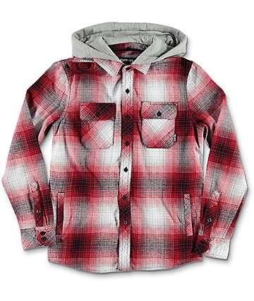 Empyre Boys Westcoast camisa de franela con capucha en rojo