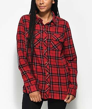 Empyre Brandon camisa de franela en rojo y negro