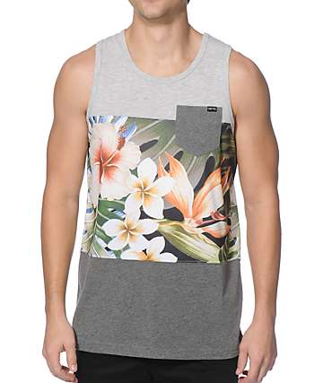Empyre Break Up Tropical Mesh Block Pocket Tank Top