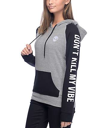 Empyre Brealynn Don't Kill My Vibe Grey & Black Hoodie