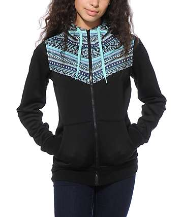 Empyre Bretton Black & Mint Tribal Tech Fleece Jacket