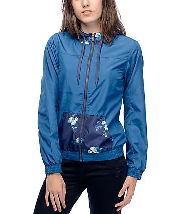 Empyre Brianda Blue Floral Lined Windbreaker Jacket