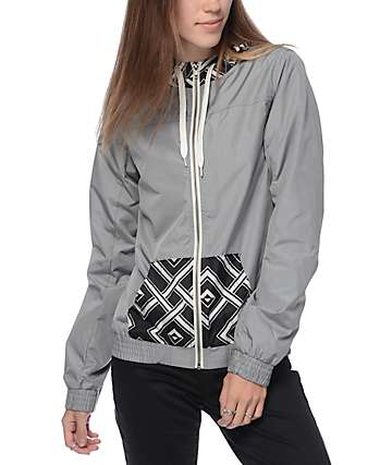 Empyre Brianda Grey Print Lined Windbreaker