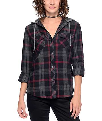 Empyre Bristol Black, Grey & Red Hooded Flannel Shirt