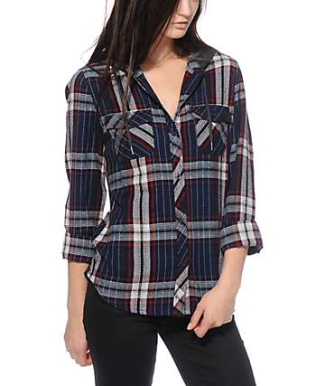 Empyre Bristol Multi Textured Hooded Flannel Shirt