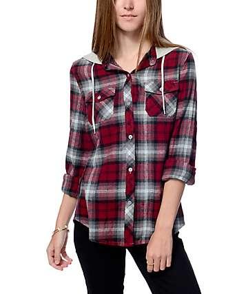 Empyre Bristol camiseta de franela con capucha rojo