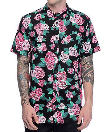 Empyre Buds Pink Rose Black Short Sleeve Woven Shirt