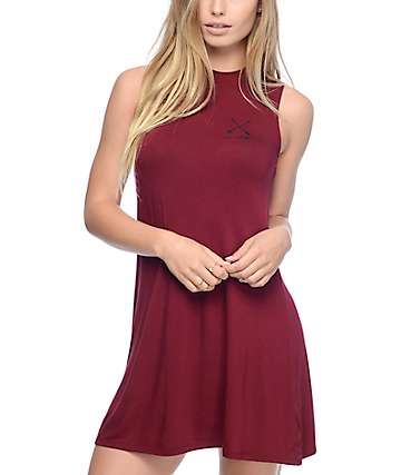 Empyre Buttercup Burgundy Mock Neck Tank Dress