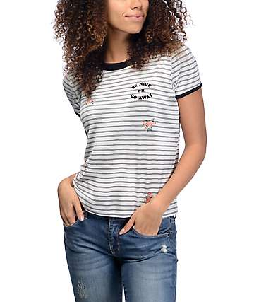 Empyre Byrl Be Nice Floral Ringer T-Shirt