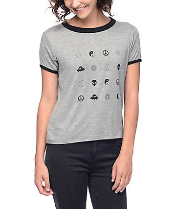 Empyre Byrl Small Graphics Grey Ringer T-Shirt