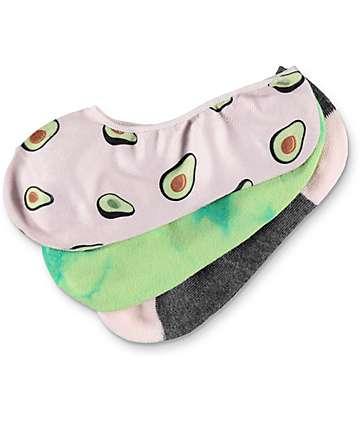 Empyre Cabana No Show Pink, Green & Grey Socks 3 Pack