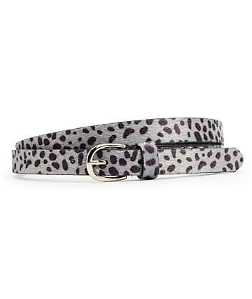 Empyre Caged Grey Animal Print Skinny Belt