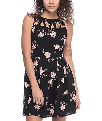 Empyre Caireann Floral Black Cutout Dress