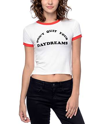 Empyre Cali Daydreams White Crop Ringer T-Shirt