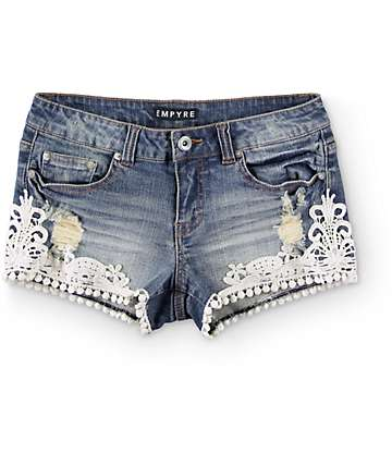 Empyre Carissa Crochet Trim Dark Wash Denim Shorts