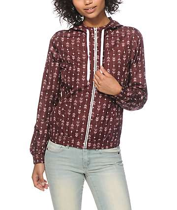 Empyre Carmen Burgundy Arrow Print Windbreaker Jacket