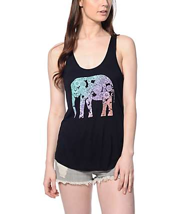Empyre Casey Black & Rainbow Elephant Tank Top