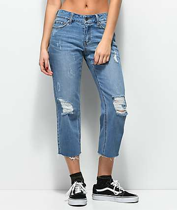 Empyre Cassia Medium Blue Crop Straight Jeans
