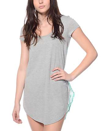 Empyre Catie Heather Grey & Mint Crochet Dress