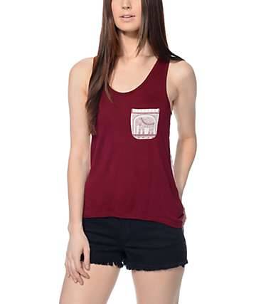 Empyre Celia Blackberry Mesh & Elephant Tank Top