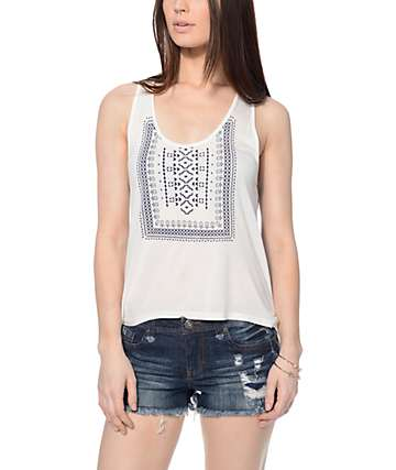 Empyre Celia Cream Tribal & Navy Tank Top