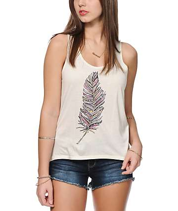 Empyre Celia Feather Ikat Print Tank Top