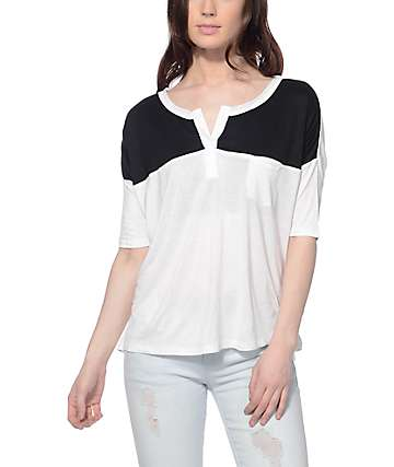 Empyre Cera Black & White Henley Top