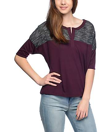 Empyre Cera Blackberry & Black Colorblock Top