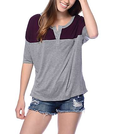 Empyre Cera Grey & Blackberry Henley Top