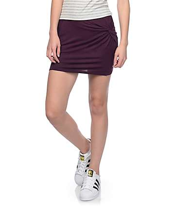 Empyre Cha Cha Burgundy Knot Front Mini Skirt
