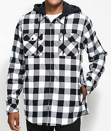 Empyre Chance Black & White Checkered Hooded Flannel
