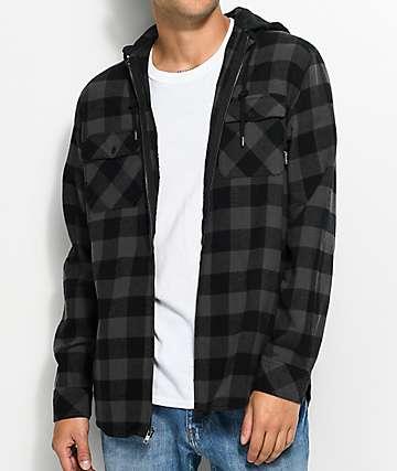 Empyre Chance camisa de franela con capucha en negro y color plomo